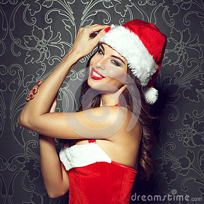 Free Santa Woman In Red Hat Royalty Free Stock Photos - 62362498