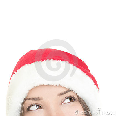Santa woman looking up