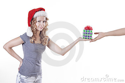 Santa woman with a present gift for New Year