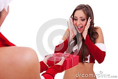 Santa woman receiving a nice present
