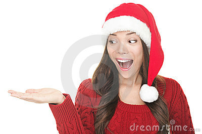 Santa woman showing copyspace excited