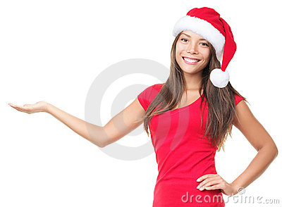 Santa woman showing product