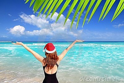 Santa woman tourist christmas caribbean vacation