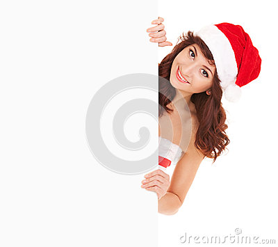 Santa woman with white blank board