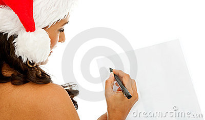 Santa woman writing