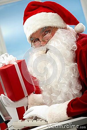 Santa working