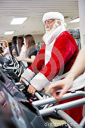 Santa workout  on a treadmill