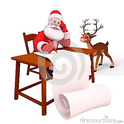 Santa writting along gift list with reindeer