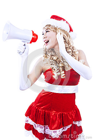 Santa yelling via megaphone isolated in white
