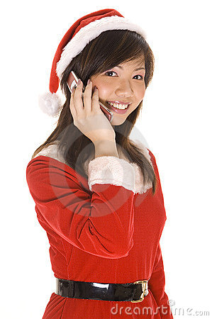 Free Santarina On The Phone Stock Image - 248261