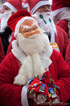 Santas Fun Run & Walk in Riga, Latvia Editorial Stock Image