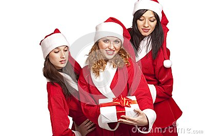 Santas with a gift box