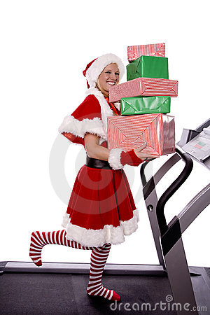 Santas helper on treadmill with gifts