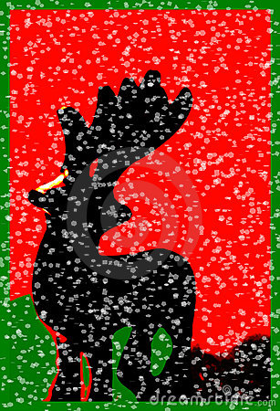 Santas Reindeer In Snow, Christmas Art