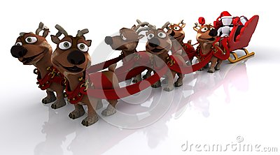 Santas sleigh and reindeer