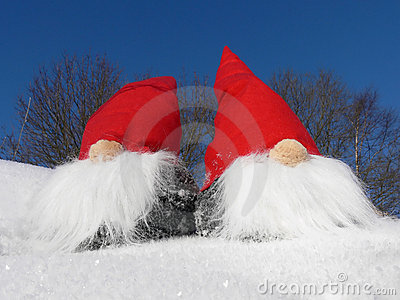 Santas on Snowy Slope