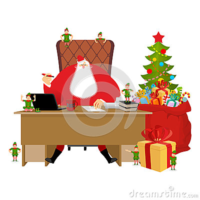 Merry Christmas. Santa Claus At Work. Big Red Bag With Gifts For ...