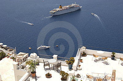 Santorini boats and balconies