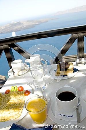 Santorini breakfast over the harbor