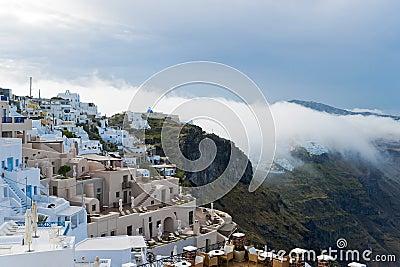 Santorini buildings in the fog