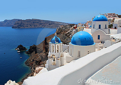 Santorini caldera view church