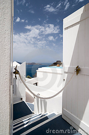 Santorini Caldera view trough the open door