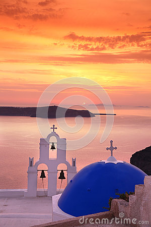 Santorini Church in Fira against sunset,Greece