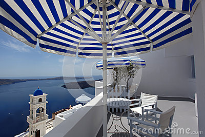 Santorini Church in Fira with sea-view,Greece