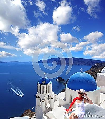 Santorini with Church in Oia, Greece