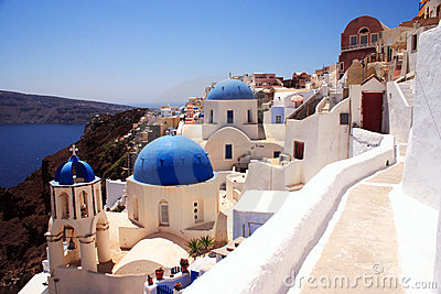 Santorini churches and lane