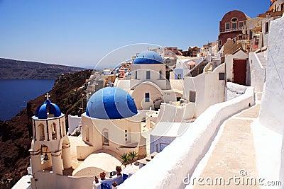 Santorini churches and lane