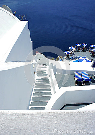 Santorini cosy terrace with staircase