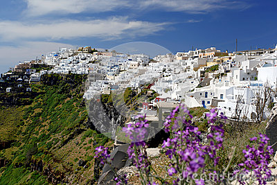 Santorini with Fira town in Greece