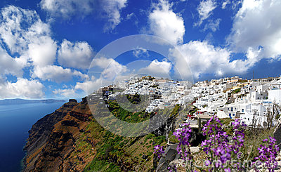 Santorini with Fira town and sea-view in Greece