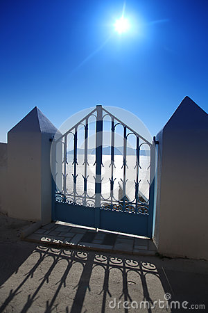 Santorini, Gate against sunset in Fira