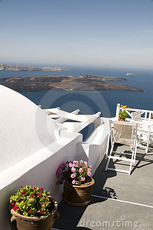 Santorini greek island view volcano