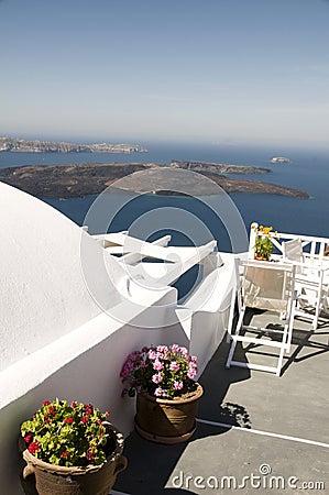 Santorini greek island view volcano