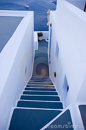 Free Santorini Houses - Stairway To Heaven Royalty Free Stock Images - 9281969