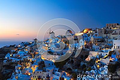 Santorini Oia in evening Stock Photo