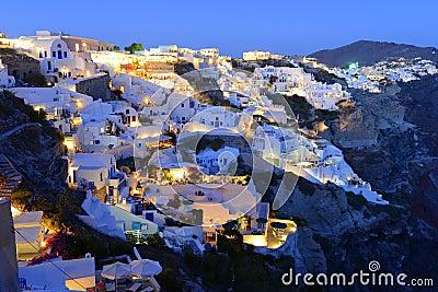 Santorini Oia Village Over Aegean Sea At Sundown Stock