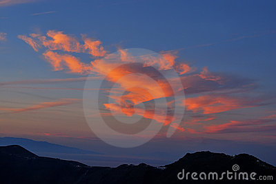 Santorini sunset cloud