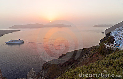 Santorini sunset in Thira