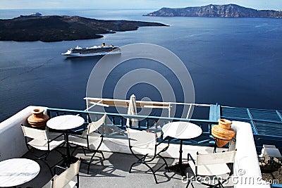 Santorini terrace Editorial Photography