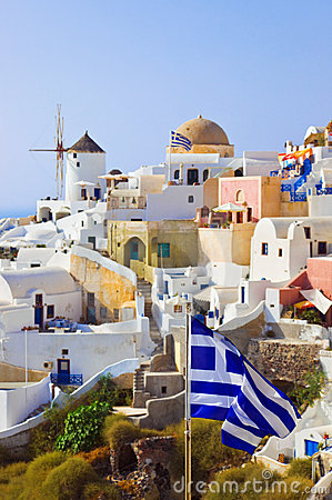 Santorini view (Oia) and greek flag