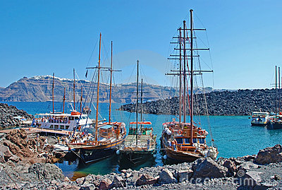 Santorini volcan port Editorial Stock Image