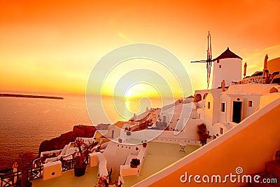 Santorini with windmill in Oia, Greece
