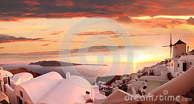 Santorini with windmill in Oia, Greece