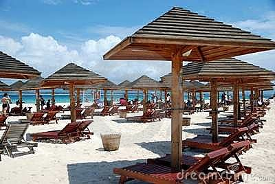 Sanya, China: Wooden Beach Umbrellas Editorial Stock Image