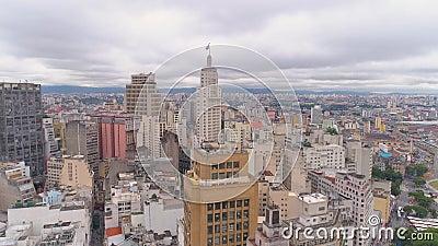 SAO PAULO, BRÉSIL - 3 MAI 2018 : Vue aérienne de la place de Ground Zero de centre de la ville Place touristique clips vidéos
