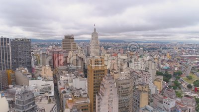 SAO PAULO, BRÉSIL - 3 MAI 2018 : Vue aérienne de la place de Ground Zero de centre de la ville Place touristique banque de vidéos